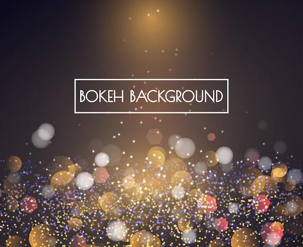 Gouden bokeh-lichten en schitter achtergrondvector
