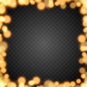Gouden bokeh op geïsoleerde transparante achtergrond lichteffect png wazig bokeh png bokeh frame