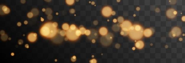 Gouden bokeh op geïsoleerde transparante achtergrond lichteffect png wazig bokeh png