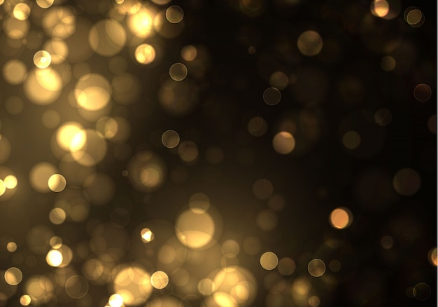 Gouden bokeh wazig licht op zwarte achtergrond. gouden lichten en nieuwjaarsvakantiesjabloon. abstracte glitter intreepupil knipperende sterren en vonken.