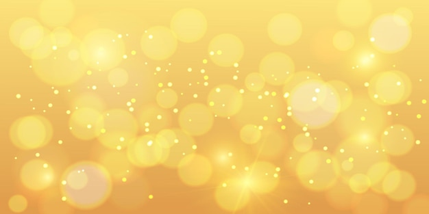 Gouden bokehachtergrond. gouden bokeh magie met oranje schittering, nieuwjaar glitter glans, vakantie banner achtergrond. vector illustratie