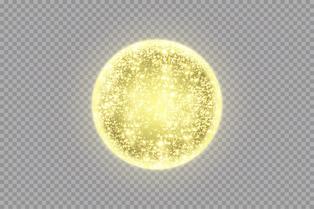 Gouden bol met lichteffecten. stralende cirkel