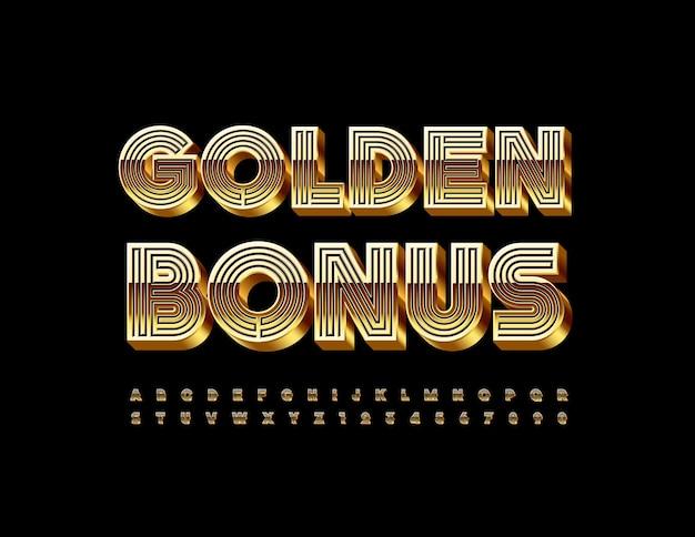 Gouden bonus doolhofstijl lettertype luxe 3d alfabetletters en cijfers set