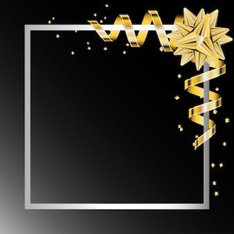 Gouden boog lint in de witte frame vector