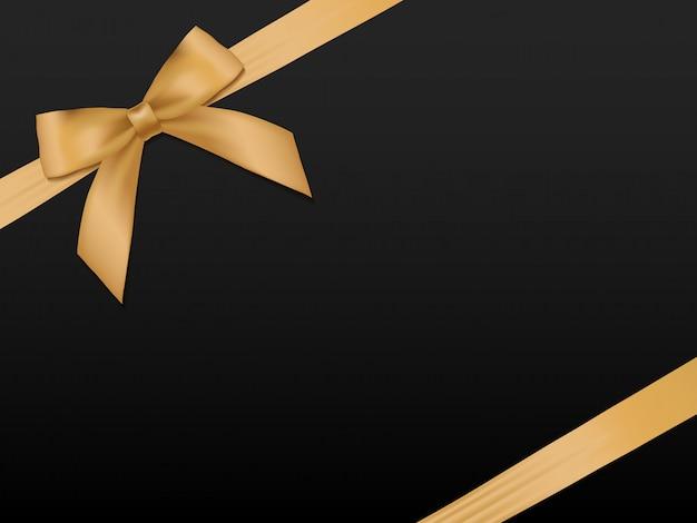 Gouden boog met linten. glanzende vakantie gouden satijnen lint op zwarte achtergrond Premium Vector