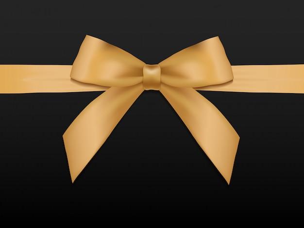 Gouden boog met linten. het glanzende lint van het vakantie gouden satijn op zwarte illustratie als achtergrond.