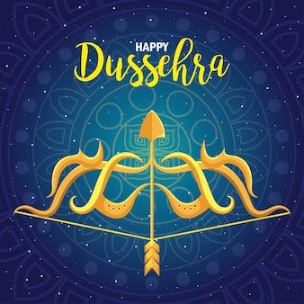 Gouden boog met pijl op blauw met mandalaontwerp als achtergrond, gelukkig dussehrafestival en indisch thema