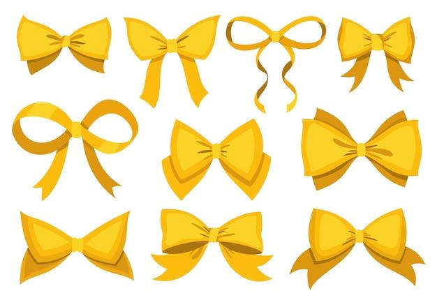 Gouden boog set. cartoon gele luxe designelementen van wrap pack. satijnen bogen met linten geïsoleerd op een witte achtergrond.