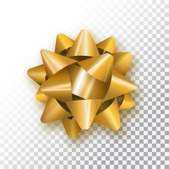Gouden boog voor het verpakken van geschenken op transparante achtergrond