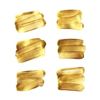 Gouden borstel handgeschilderde set geïsoleerd