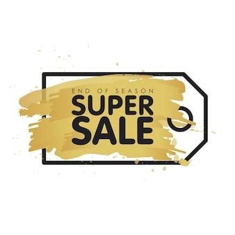 Gouden borstel tag abstracte achtergrond vectorillustratie. super verkoopconcept. einde van het seizoen.