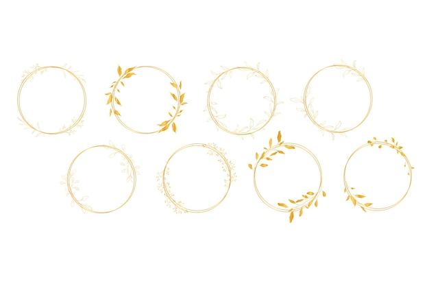Gouden botanische lijnkunst krans set