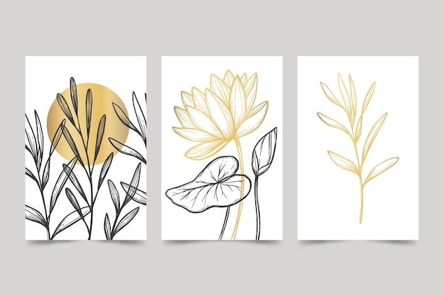 Gouden botanische omslagcollectie Gratis Vector