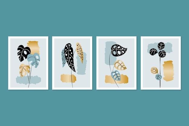 Gouden botanische omslagcollectiesjabloon