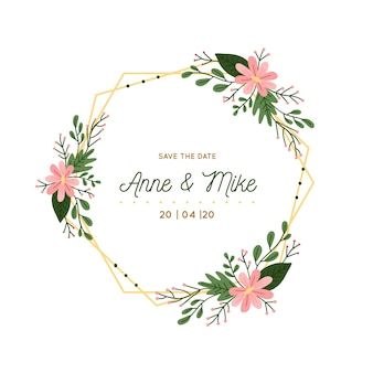 Gouden bruiloft bloemen frame