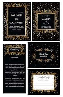 Gouden bruiloft collectie met bloemen confetti bruiloft suite bruiloft uitnodiging set