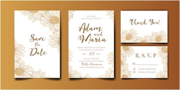 Gouden bruiloft uitnodiging set met schoonheid floral tulp bloem abstracte doodle hand getrokken stijl ornament decoratie