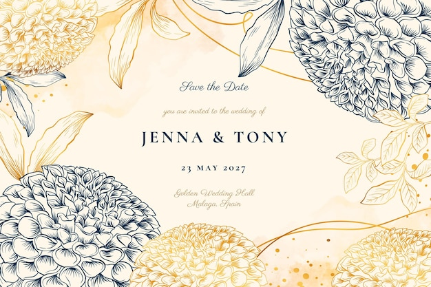 Gouden bruiloft uitnodiging sjabloon