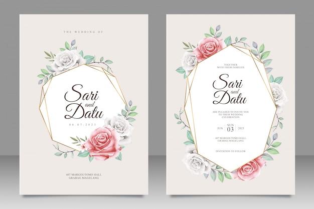 Gouden bruiloft uitnodigingskaart set met bloemen aquarel