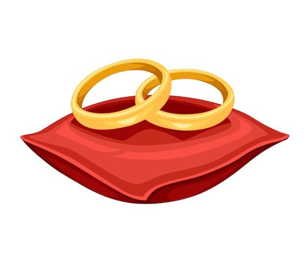 Gouden bruiloftenringen op de illustratie van het rood fluweelhoofdkussen