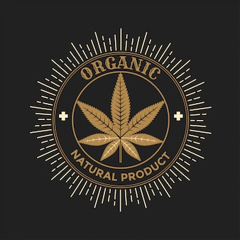Gouden cannabis blad teken illustratie