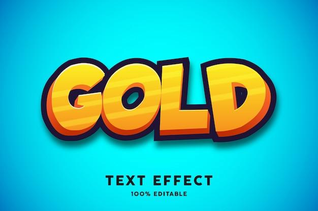 Gouden cartoon teksteffect, bewerkbare tekst
