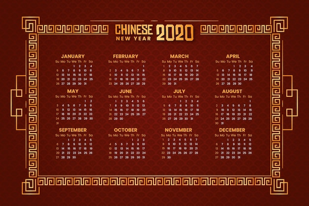 Gouden chinese nieuwjaarskalender