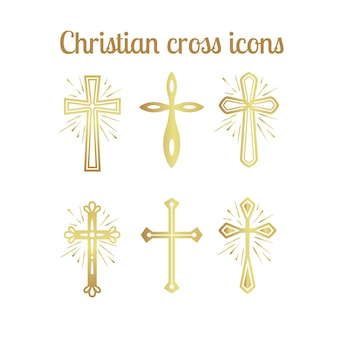 Gouden christelijke kruis pictogrammen instellen