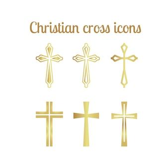Gouden christelijke kruis pictogrammen