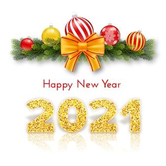 Gouden cijfers 2021. vakantie cadeaubon happy new year.