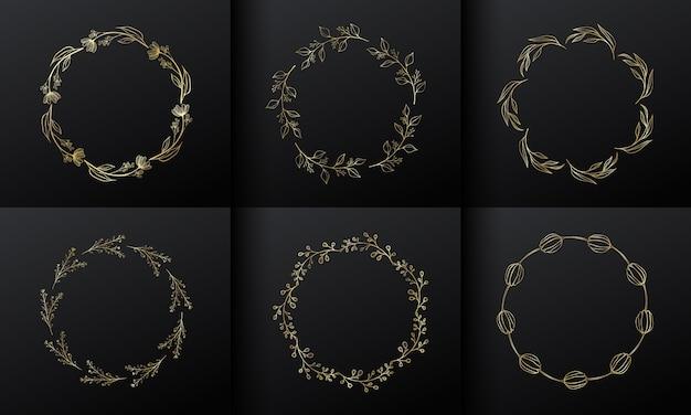 Gouden cirkel bloem frame voor monogram logo-ontwerp. kleurovergang gouden bloemenrand.