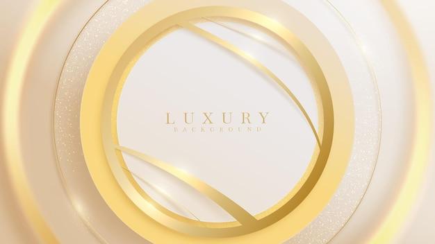 Gouden cirkel met fonkelende krommelijn en glinsterende lichteffecten, luxe achtergrondontwerp.