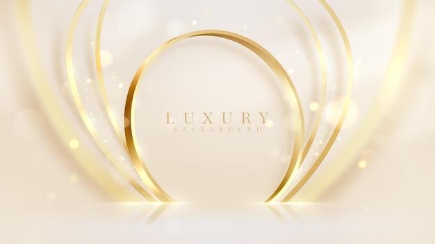 Gouden cirkel met vage krommelijn en bokeh rond elementen, luxe crèmekleurige achtergrond, realistisch 3d-ontwerp.