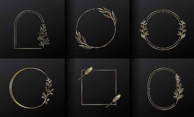 Gouden cirkelframe bloem