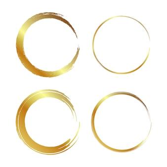 Gouden cirkelframe, handgetekende gouden cirkel
