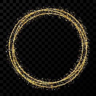 Gouden cirkelframe. modern glanzend frame met lichteffecten geïsoleerd op donkere transparante achtergrond. vector illustratie.