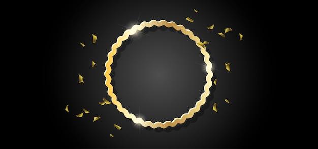 Gouden cirkelkader zwarte achtergrond