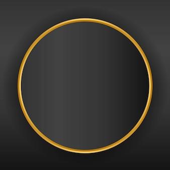 Gouden cirkels grens, ronde frame op donkere achtergrond.