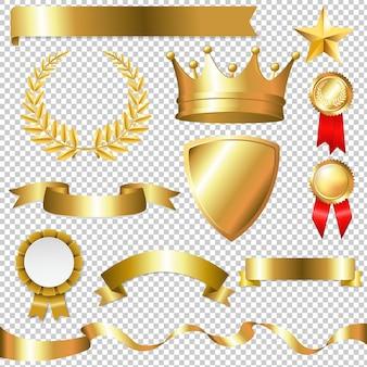 Gouden collectie geïsoleerd geïsoleerde illustratie