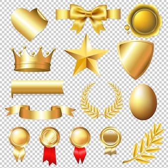 Gouden collectie geïsoleerde illustratie