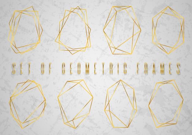 Gouden collectie geometrische veelvlakken