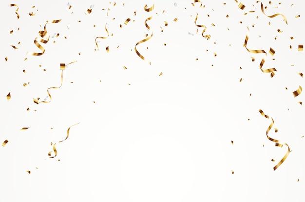 Gouden confetti achtergrond, geïsoleerd op een witte achtergrond