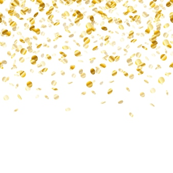 Gouden confetti achtergrond. naadloos horizontaal patroon. metallic folie.