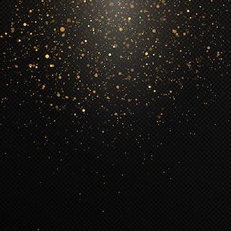 Gouden confetti en glitter textuur op een zwarte achtergrond.