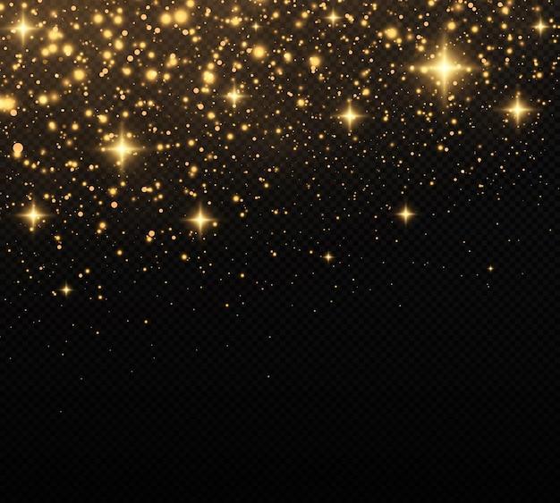 Gouden confetti en glittertextuur op een zwarte achtergrond