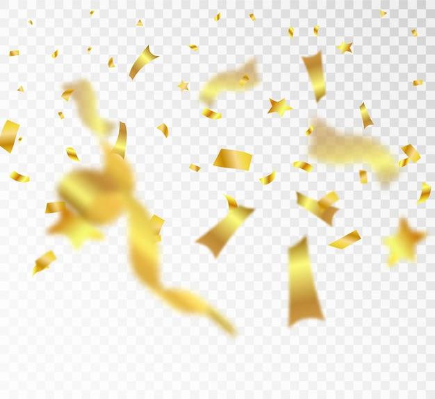 Gouden confetti en linten die op een transparante achtergrond vallen feestelijke illustratie