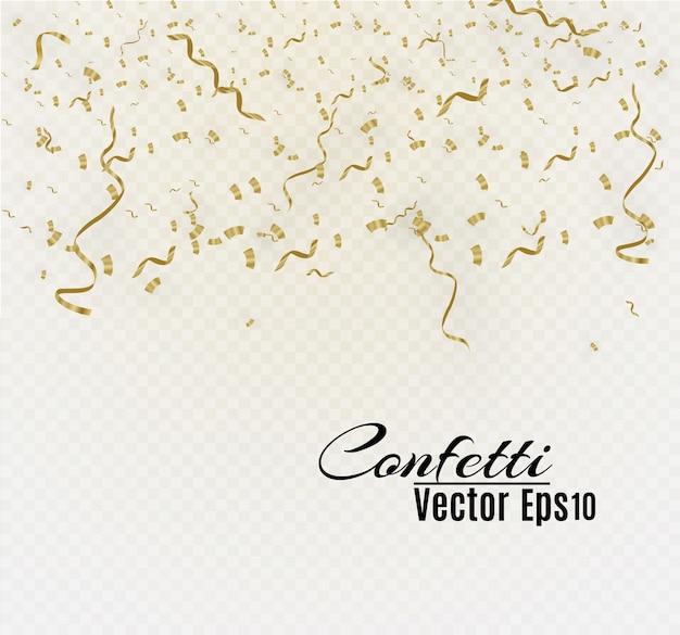 Gouden confetti geïsoleerd op cellulaire achtergrond