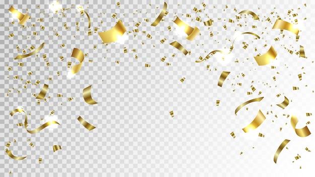 Gouden confetti. helder feestelijk klatergoud van gouden kleur.
