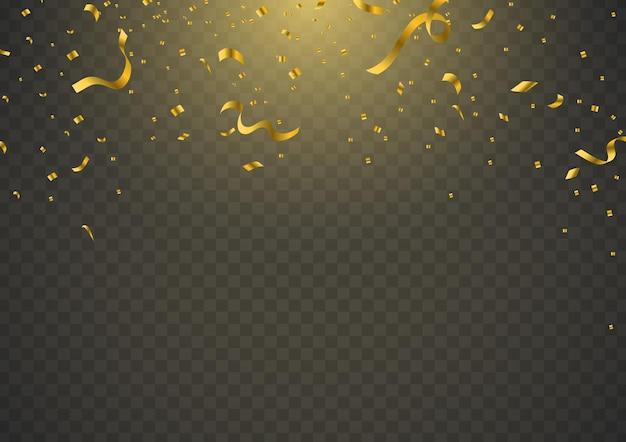 Gouden confetti met decoratief ontwerp geïsoleerd glanzende achtergrond vectorillustratie