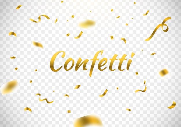 Gouden confetti met decoratief ontwerp geïsoleerd witte achtergrond vectorillustratie